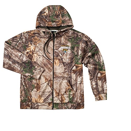 Jaguars Jacksonville Camo (Dunbrooke Apparel NFL Jacksonville Jaguars Boys Champion Realtree Xtra Polyester Tech Fleece Full Zip Hoodie, X-Large, Camo)
