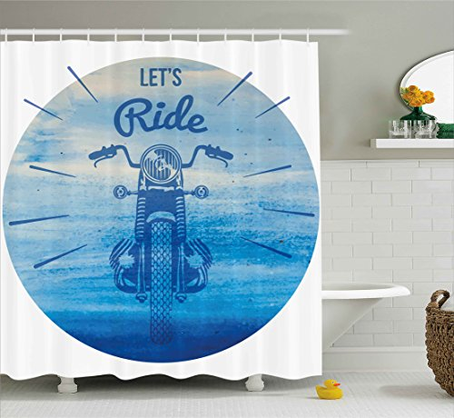 vintage motorcycle shower curtain - 9