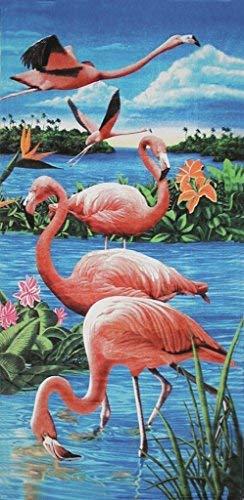 Bahia Collection by Dohler Flamingos & Lake Brazilian Velour Beach Towel 30x60 Inches [並行輸入品] B07RGFJ1TD