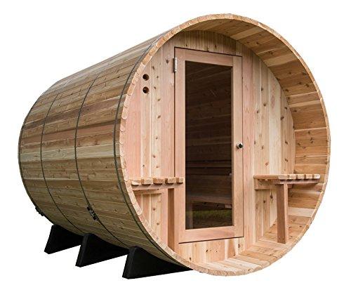 Almost Heaven Saunas Weston Canopy Barrel Sauna (6 person) (Rustic Red Cedar) - Red Cedar Canopy