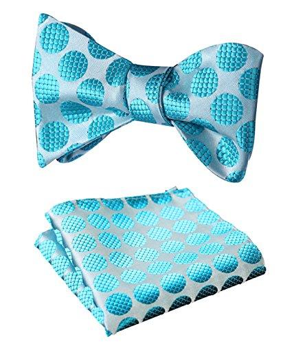 HISDERN SetSense Men's Polka Dot Jacquard Wedding Party Self Bow Tie Pocket Square Set Aqua