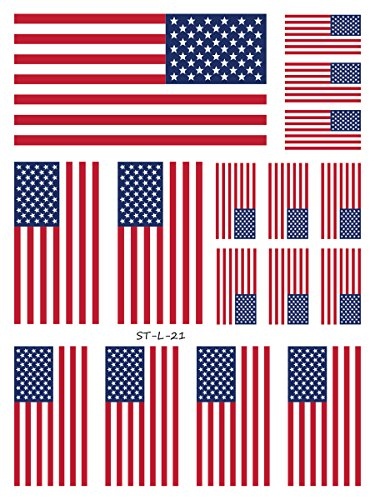 Supperb American Flag Temporary Tattoo Kit, USA Flag Temporary Tattoos 4th of July (16 flags) -