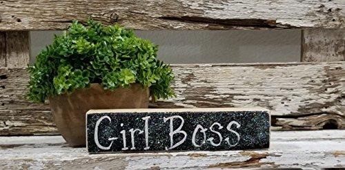 Girl Boss Mini Black Glitter Blocks Sign 2