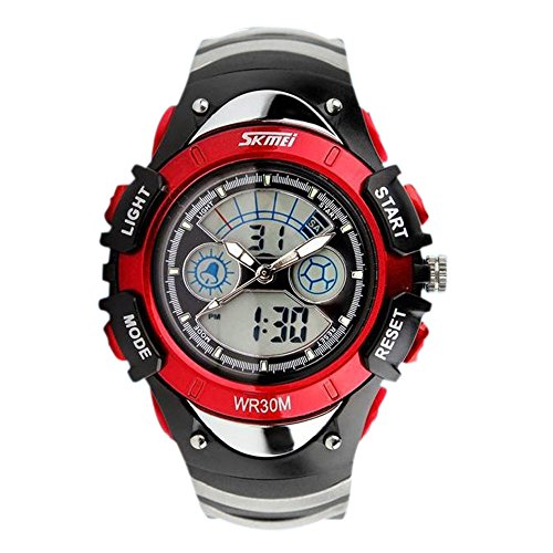 ALPS Kids LED Digital Boys  Girls Waterproof Watches (Red)