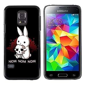 TopCaseStore / la caja del caucho duro de la cubierta de protección de la piel - Nom Nom Nom Funny Killer Rabbit - Samsung Galaxy S5 Mini, SM-G800, NOT S5 REGULAR!