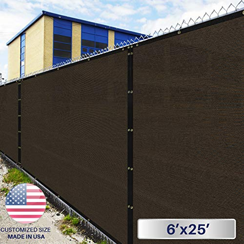 6' x 25' Privacy Fence Screen in Brown with Brass Grommet 85% Blockage Windscreen Outdoor Mesh Fencing Cover Netting 150GSM Fabric - Custom