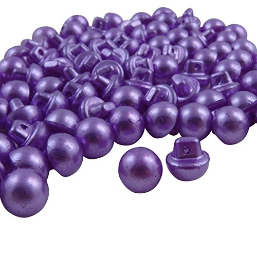 Round Plastic Buttons (Purple Plastic Round Button Pearl Imitation Dress Shank Diy Craft Sewing 100 Pieces)