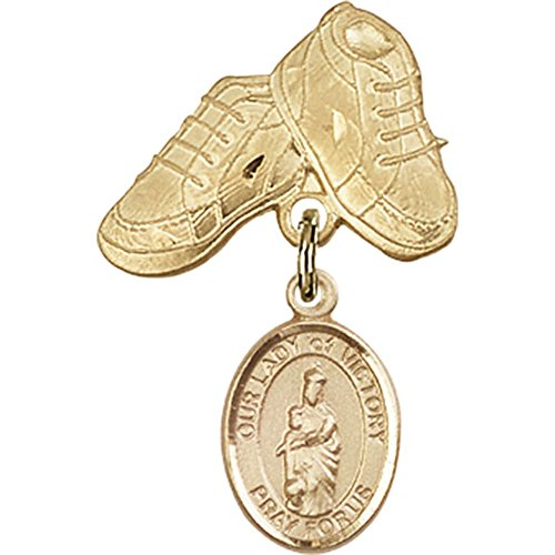 14kt Yellow Gold Baby Badge with Our Lady of Victory Charm and Baby Boots Pin 1 X 5/8 inches by Unknown
