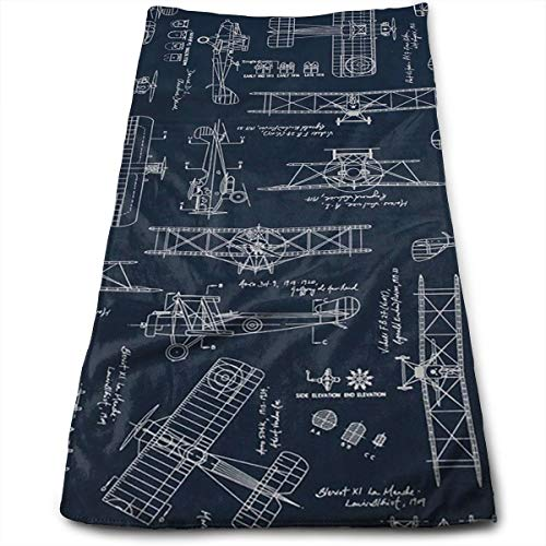 YGRAA Aviation Aviators Transportation Blue Bath Towels for Bathroom-Hotel-Spa-Kitchen-Set - Circlet Egyptian Cotton - Highly Absorbent Hotel Quality Towels
