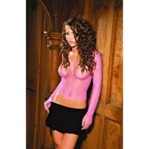 Elegant Moments Women's Fishnet Long Sleeve Cami Top