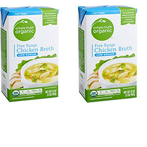 Simple Truth Organic Free Range Chicken Broth Low Sodium 32 oz (Pack of 2) -