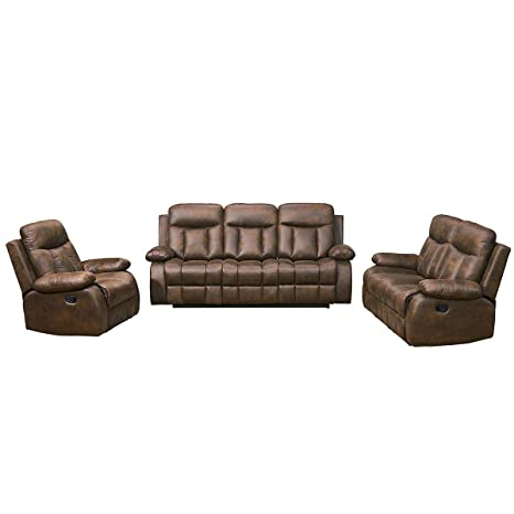 Betsy Furniture New Microfiber Fabric Recliner Set Living Room Set in Brown, Sofa Loveseat Chair Pillow Top Backrest and Armrests 8028 (Living Room ...