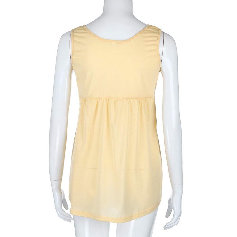 Women Fashion Plus Size Vest Summer Sleeveless Cami Scoop Neck Cotton Top Shirt Safety Blouse Khaki by iLUGU (Image #3)