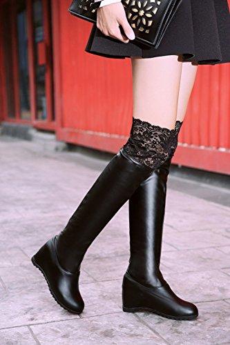Carolbar Womens Lace Fashion Elegance Charme Gracieux Caché Wedge Talon Tall Robe Bottes Noir