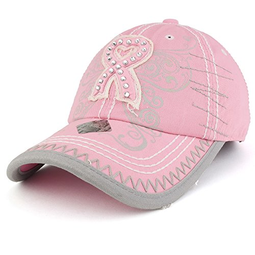 Trendy Apparel Shop Breast Cancer 3D Pink Ribbon Embroidered Cotton Baseball Cap with Frayed Bill