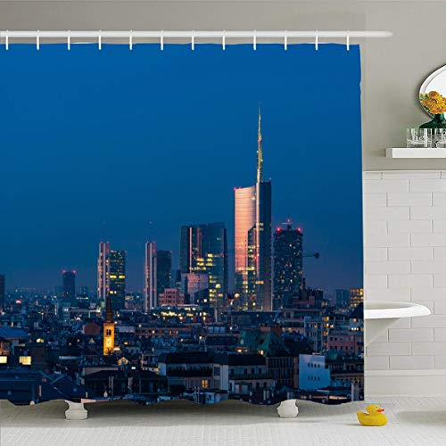- Ahawoso Shower Curtain 72x72 Inches Milano Milan Cityscape Sunset New Skyscrapers Downtown Porta Italian City Modern Night Design Waterproof Polyester Fabric Set with Hooks