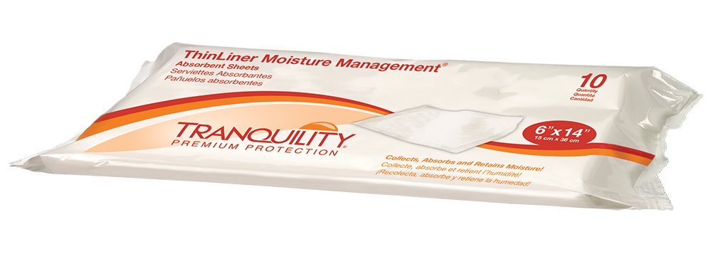 Tranquility ThinLiner Moisture Management Sheets, 6 x 14 Inch - 1/Case of 200