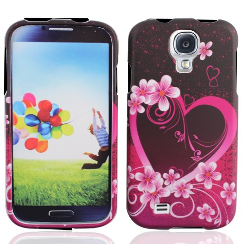 LF Purple Heart Designer Hard Case Cover, Lf Stylus Pen and Lf Screen Wiper Bundle Accessory for Samsung Galaxy S Iv 4 / -