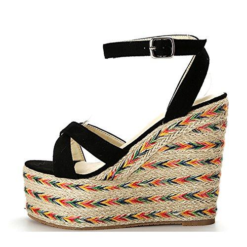 - LIHUAMAO Women Wedges Sandals Platform Espadrilles Casual Shoes Ladies Ankle Strap High Heeled Peep Toe Pumps 5