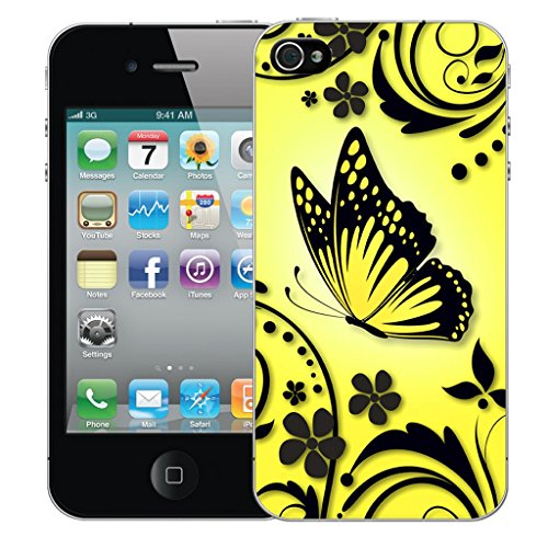 Mobile Case Mate iPhone 4 Silicone Coque couverture case cover Pare-chocs + STYLET - Yellow Caress pattern (SILICON)