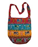 Handcrafted Embroidered Elephants Bohemian / Hippe / Gypsy Crossbody Bag India, Bags Central