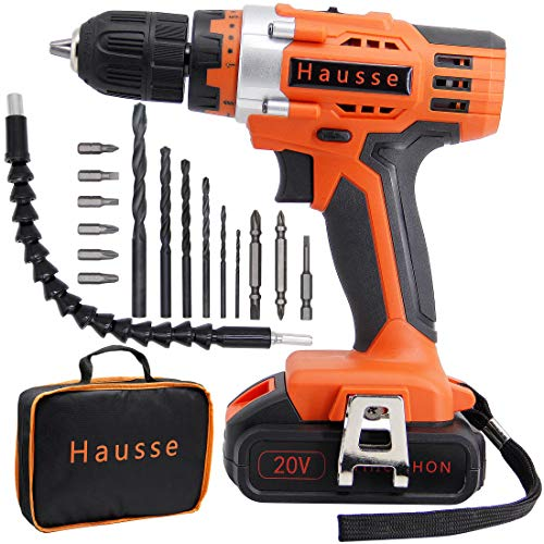 Hausse Cordless Impact Drill Driver 20V 3/8 Inch with Rechargeable Lithium Battery, Compact Heavy Duty Power Tool