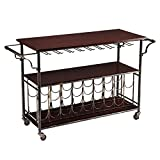 Modern Style Kitchen Bar Rolling Wine Cart Serving Table with 9 Hanging Glass Racks and Locking Casters | Black Metal Frame, Wooden Shelves - Includes Modhaus Living Pen