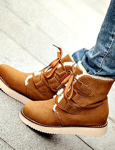Negro De Beige 5 Zapatos Plano Casual Brown Uk6 Botas Comfort us8 Mujer Xzz Nieve Eu39 Tacón 5 Marrón Exterior Semicuero Cn40 P5xadO