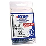 Kreg SML-C250B-50 2 1/2-Inch Blue-Kote Pocket Screws WR 8 Coarse, Washer-Head, 50 Count