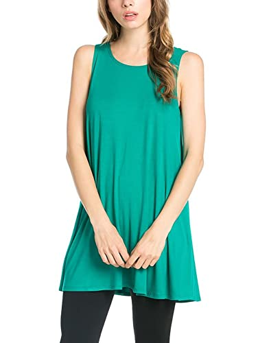 12 Ami Solid Basic Long Tank T-Shirt Tunic - Made in USA