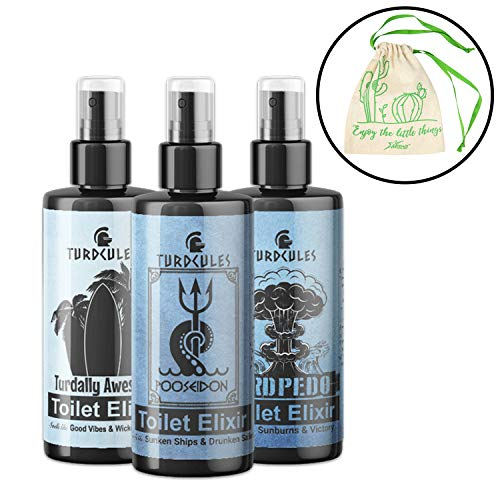 Turdcules The Craptains Choice Collection Set of 3 Toilet Elixirs Includes Gift Box and Exclusive Myriads Bag
