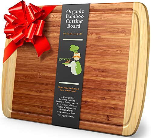 Greener Chef Extra Large Bamboo Cutting Board for Kitchen - Lifetime Replacement Boards - 18 x 12.5 Inches - Organic Wood Butcher Block and Wooden Carving Board for Meat and Chopping Vegetables (Best Cutting Board For Cooked Meat)
