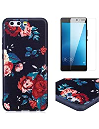 For Huawei P10 Case and Screen Protector,OYIME Luxury [Red Rose] Relief Pattern Design Black Silicone Rubber Ultra Thin Slim Fit Bumper Drop Protection Anti-Scratch Protective Back Cover