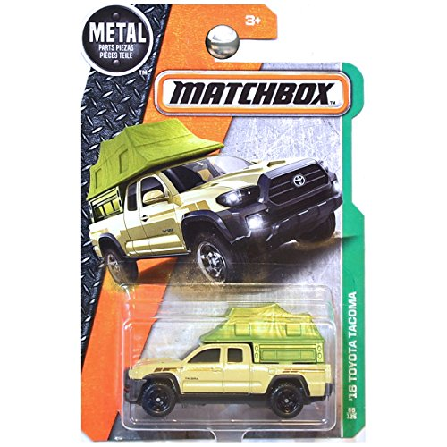 - Matchbox 2017 '16 Toyota Tacoma 86/125 Scale MBX Explorers Die-cast Vehicle, Tan with Green Tent Camper
