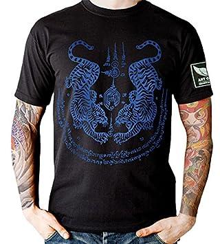 7dfcf2f486100 Blue Twin Tiger Sak Yant Muay Thai T-shirt (2XL): Amazon.co.uk ...