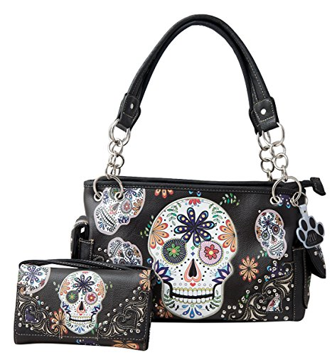 (HW Collection Western Sugar Skull Flowers Concealed Carry Handbag and Crossbody Wallet (Black))