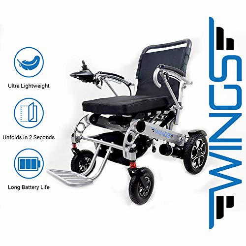 - Lightweight Folding Electric Wheelchair - Ultra Portable Foldable Power Motorized Scooter Chair - Extra Wide 19.6