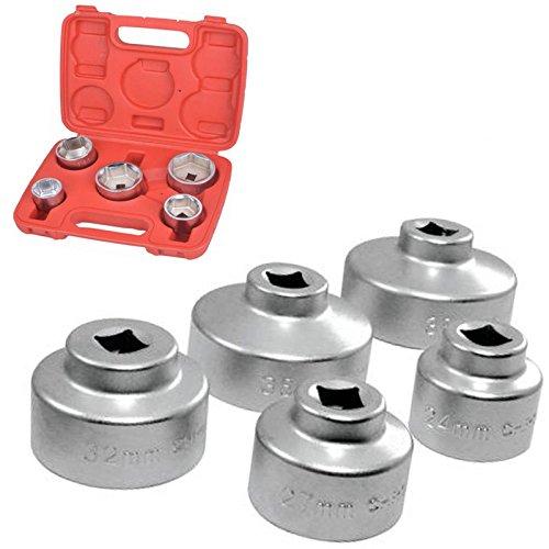 SavingPlus Oil Filter Socket Set Cap Wrench Kit 24 27 32 36 38 MM 5 Piece New uk1772