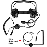 Maxtop AHDH0032RC-BK-M5 Two Way Radio Noise Cancelling Headset With Extra Cable for Motorola HT750 HT1250 PRO7550