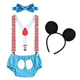 Baby Boys First Birthday Christmas Costume Cake Smash Outfits Y Back Suspenders Bloomers Bowtie Set Mouse Ear #14 Chevron Striped+Blue 6-12 Months