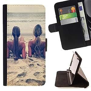 - Sex Girl on the beach/ Personalizada del estilo del dise???¡Ào de la PU Caso de encargo del cuero del tir????n del soporte d - Cao - For Sony Xperia Z2 D6502