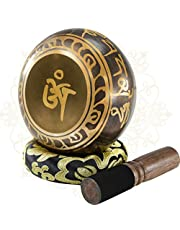 Soundance 5 Inch Tibetan Singing Bowl Set for Meditation Yoga Chakra Healing Relaxation Mindfulness Heart Peace, Handcrafted Metal Brass Bowls with Hammered Mallet Silk Cushion