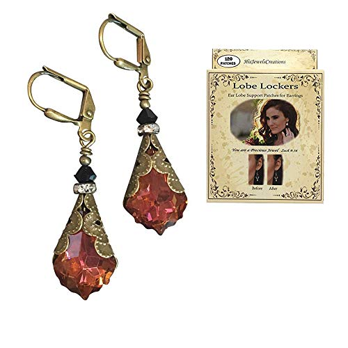 (HisJewelsCreations Baroque Crystal Vintage Inspired Leverback Dangle Drop Earrings (Orange/Chili Pepper with Lobe Locker))