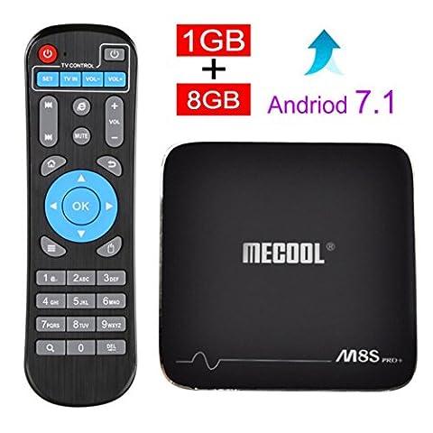 ESHOWEE M8S PRO Android 7.1 TV Box Amlogic S905X 64 bit Quad-core DDR3 1GB 8GB 2.4 WiFi 4K UHD & LAN VP9 DLNA - 802.11b/g Plus Bluetooth