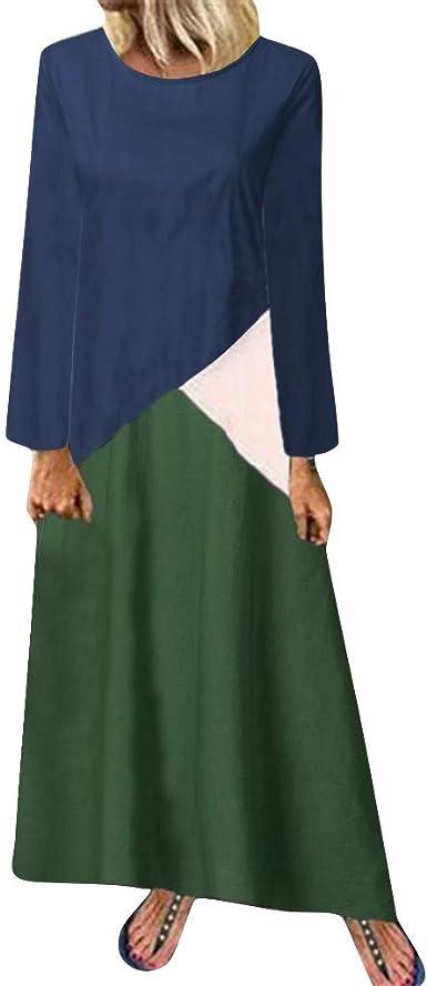 LANSKIRT Vestidos Largos Mujer Casual Costuras de 3 Colores Diario ...