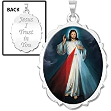 Divine Mercy Double Sided Scalloped Oval Religious Medal Color