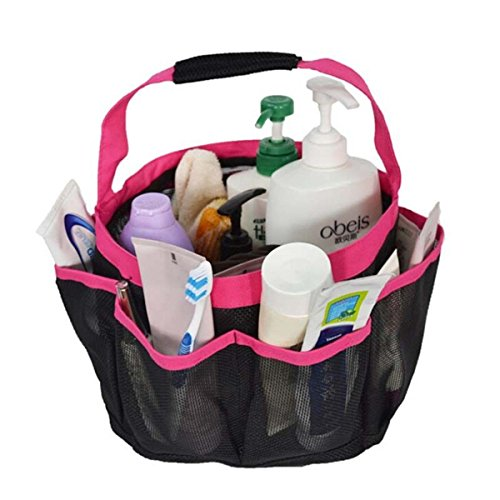 Fry Pan Basic Essentials (NPLE--Shower Caddy Mesh 8 Pocket Portable Quick Dry Travel Tote Carry Handle Gym Dorm (Rose Red))