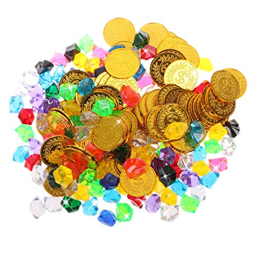 bluederst 100 Pirate Gold Coins and 100 Pirate Multi-Colored Acrylic Diamonds Gems Jewelry Treasure Jewels Games Set for Play Favor Party - Colored Multi Gold Gems