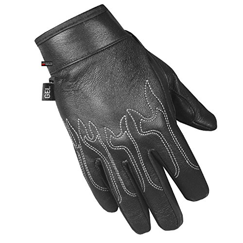 Men's Aniline Motorcycle Genuine Leather Embroidered Flame Biker Gel Gloves L