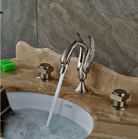 GOWE Nickel Brushed Bathroom Swan Faucet Dual Handles Vanity Sink Mixer Tap 3 pcs 3